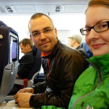 Im Flugzeug auf dem Weg in die USA