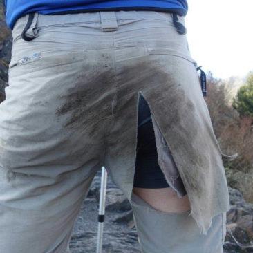 Philipps Hose nach der missglückten Rutschpartie