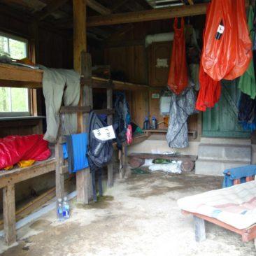 Sachen trocknen in der Eckville Shelter