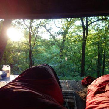 Die Sonne weckt uns in der Telephone Pioneers Shelter