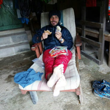 Pillow beim Mittag in der Eckville Shelter