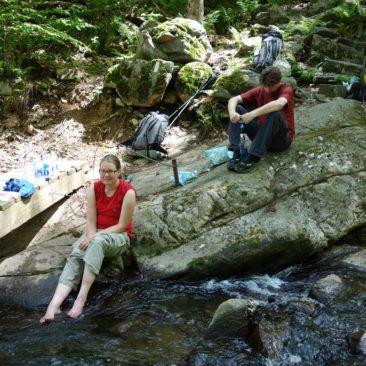 Wasserfiltern und Füße abkühlen