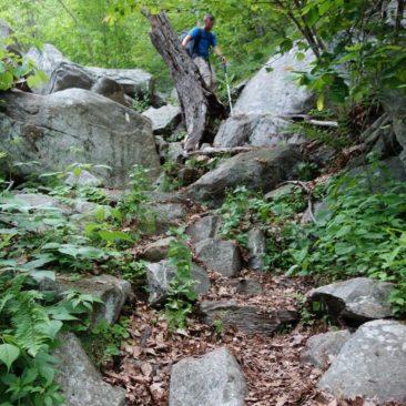 Steinige Wegabschnitte auch in Connecticut, obwohl das dort nur noch vereinzelt vorkam