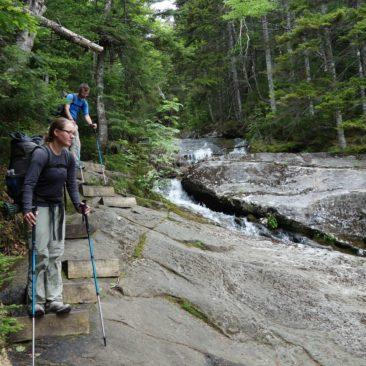 Der Abstieg von Mount Moosilauke - teilweise sogar mit Tritthilfen