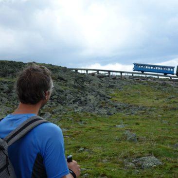 Die kleine Eisenbahn hoch auf Mount Washington
