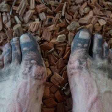 Meine Füße nach einem Tag auf staubigen Wegen