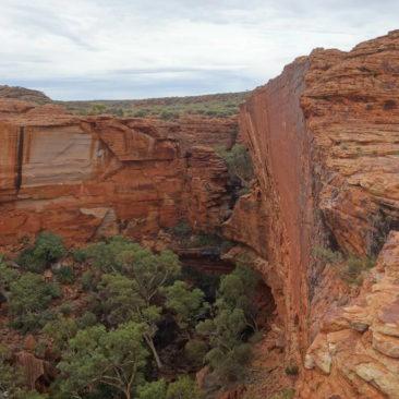 """Schwer zu erkennen, aber das ist das Wasserloch """"Garten Eden"""" im Kings Canyon"""