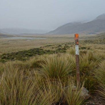 Ausblick und Abstieg ins Tal des Mavora Lake Walkways