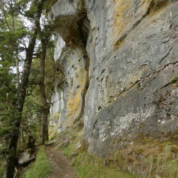 Sandsteinfelsen entlang des Aufstiegs zur Luxmore Hut