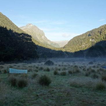 Morgenidylle auf dem Zeltplatz an der Iris Burn Hut