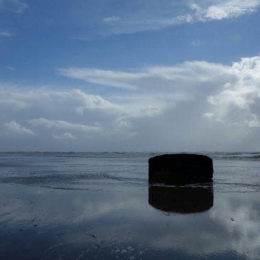 Der fest schon versunkene Boiler des Schiffswracks SS Lawrence nördlich von Westport