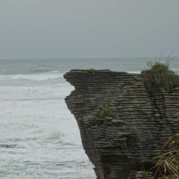 Nahaufnahme der Pancake Rocks in Punakaiki - wie gestapelte Eierkuchen