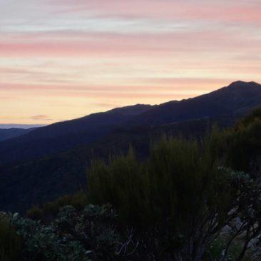 Sonnenuntergang an der Ces Clark Hut