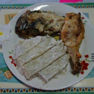 Fisch, Huhn und Taro = lecker